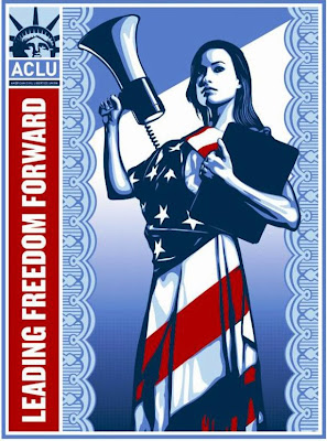American Civil Liberties Union Leading Freedom Forward Screen Print featuring Olivia Wilde by Shephard Fairey