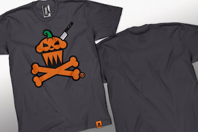Johnny Cupcakes Halloween 2010 T-Shirts - JackOLantern Cupcake and Crossbones T-Shirt