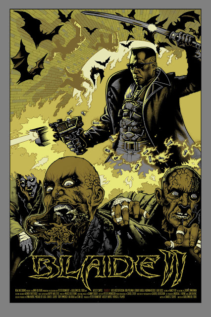 Mondo Tees - Blade II Screen Print Standard Gold Edition by Mike Sutfin