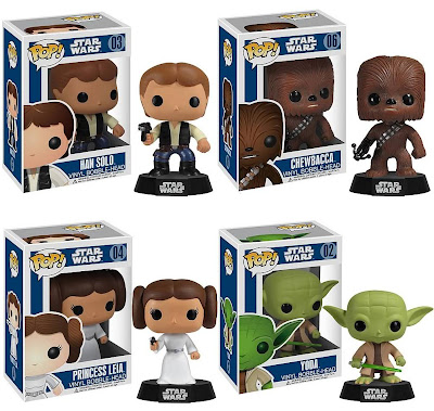 Star Wars Pop! Vinyl Bobble Heads Series 1 by Funko - Han Solo, Chewbacca, Princess Leia & Yoda