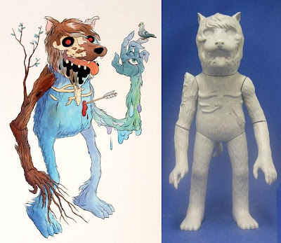 Earth Wolf Original Painting and Vinyl Figure Prototype by Josh Herbolsheimer