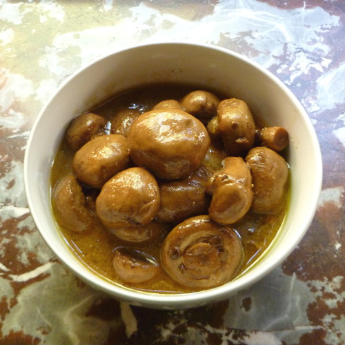 Cookistry: Marinated Mushrooms with Black Garlic