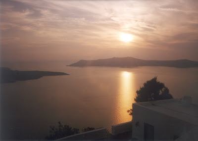 sunset at Santorini caldera