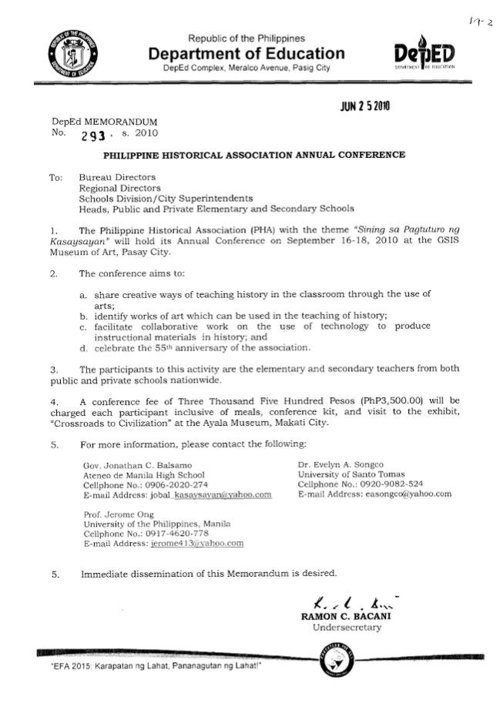 DEPED MEMORANDUM ENDORSEMENT