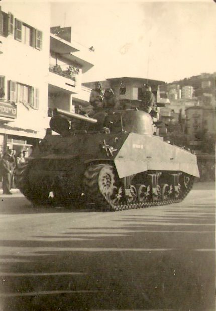 Sherman in Haifa IDF parade 1949