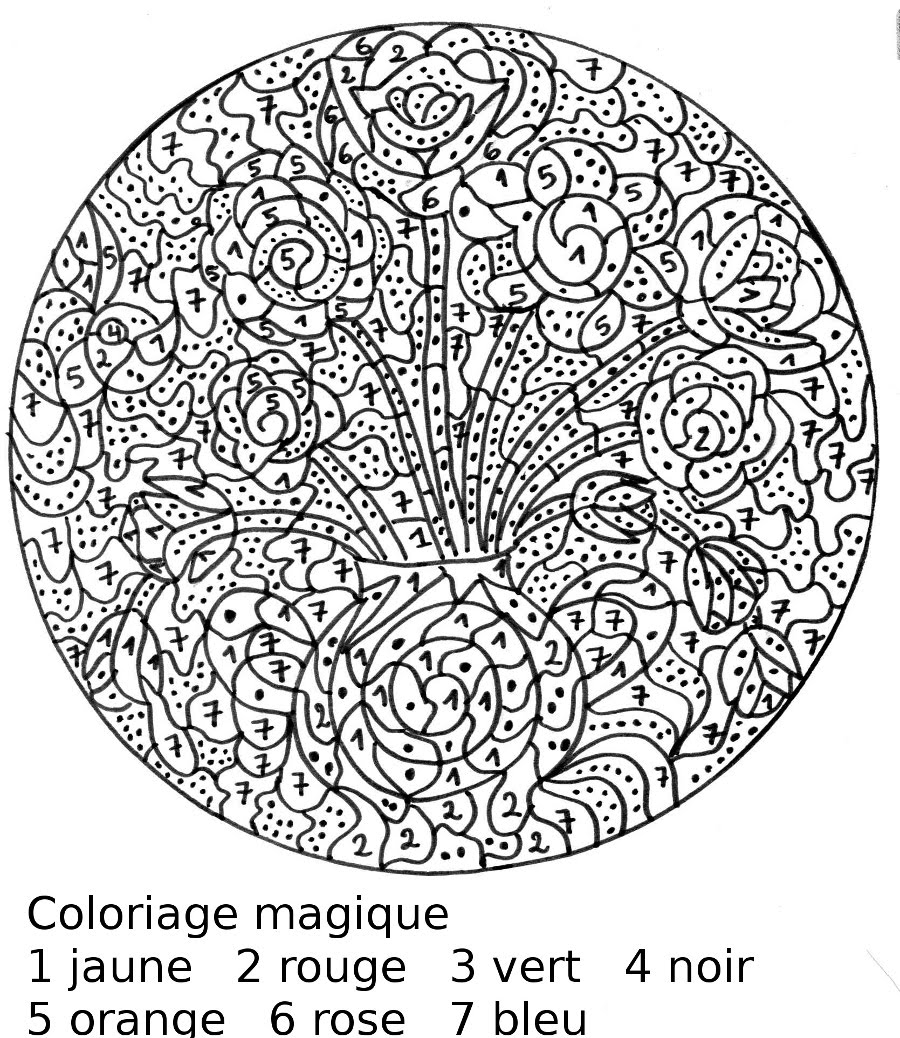 elphant et fleur - Coloriages Magiques