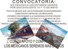 MAY 14-15 CONVOCATORIA/BOYCOTT ON U.S. PORT CROSSINGS