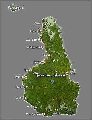 Tioman island map, Malaysia