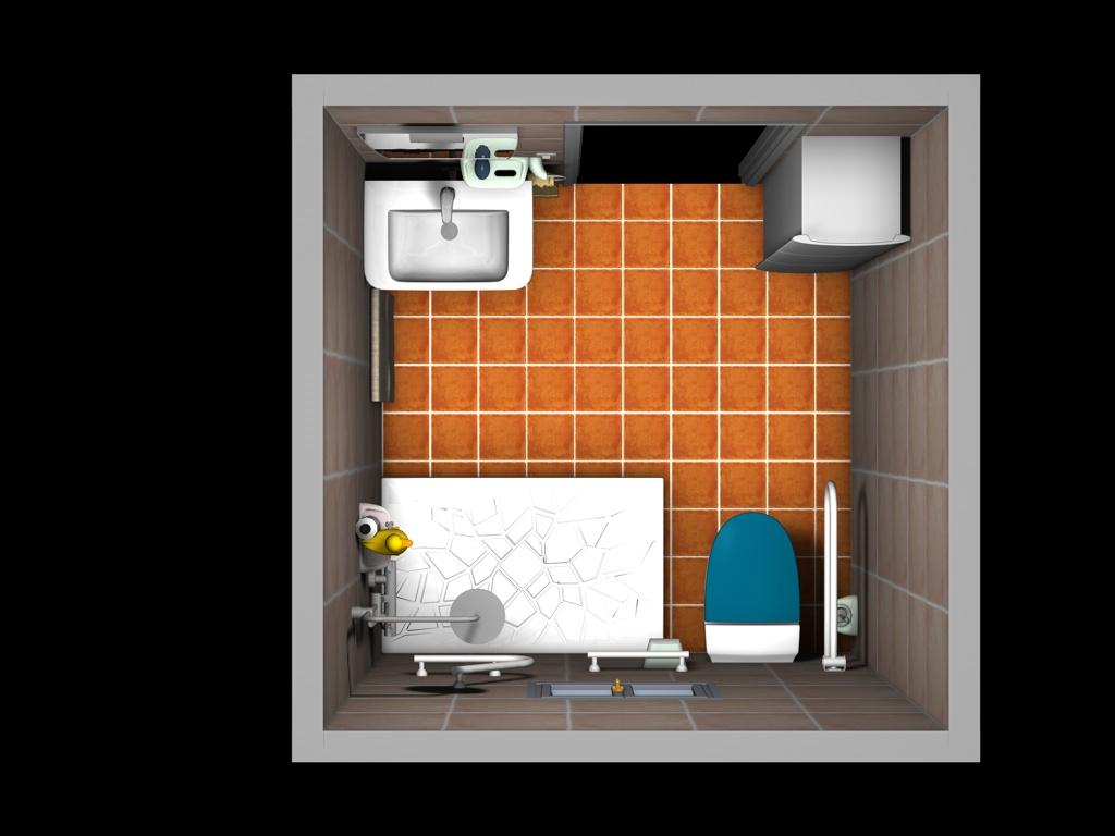 Sala de espera lavabo en 3d for Lavabos para minusvalidos