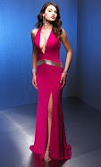 Sexy hot pink halter top prom dress