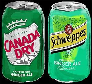 ginger ale cans, great for nausea during pregancy and morning sickness
