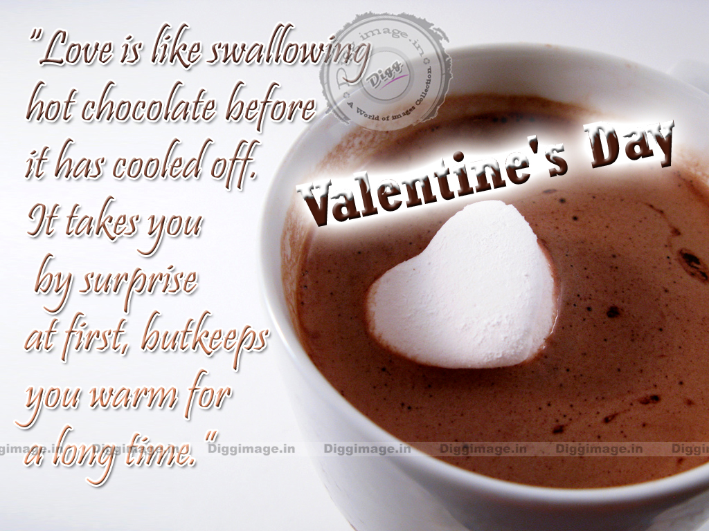 """Love is like swallowing hot chocolate ""Love quotes Greetings and wishes"