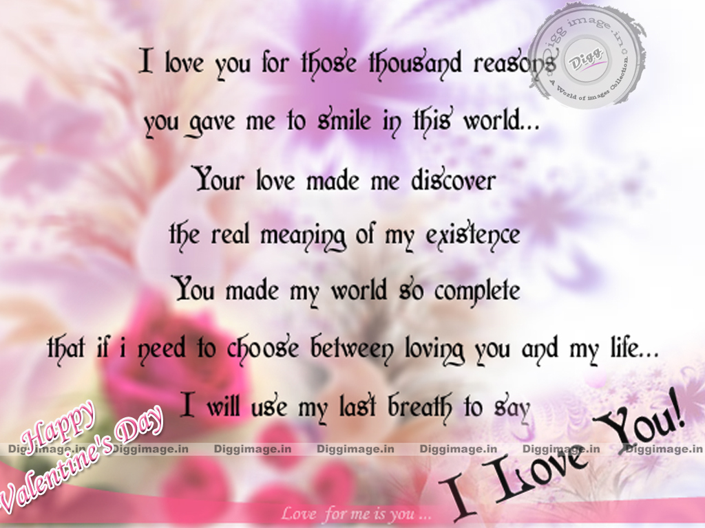 I Love You Quotes Valentines Day : love you for those thousand reasons i love quotes for valentines day