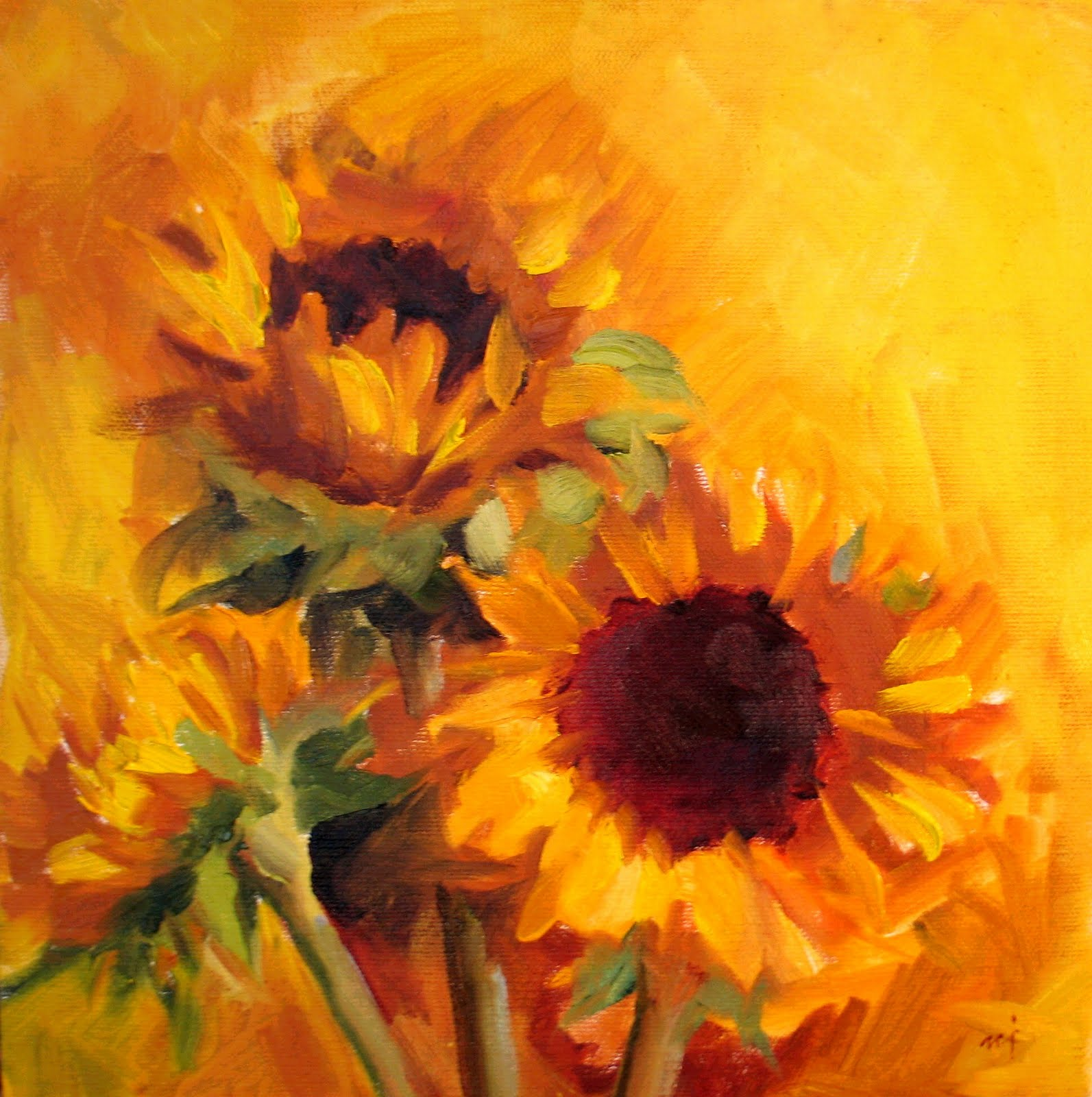 Nel's Everyday Painting: Sunflowers in Abstract Yellow - SOLD