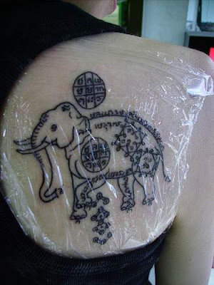 Elephant Tattoo Art on Back Girl