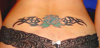Girl Lower Back Tribal Tattoo