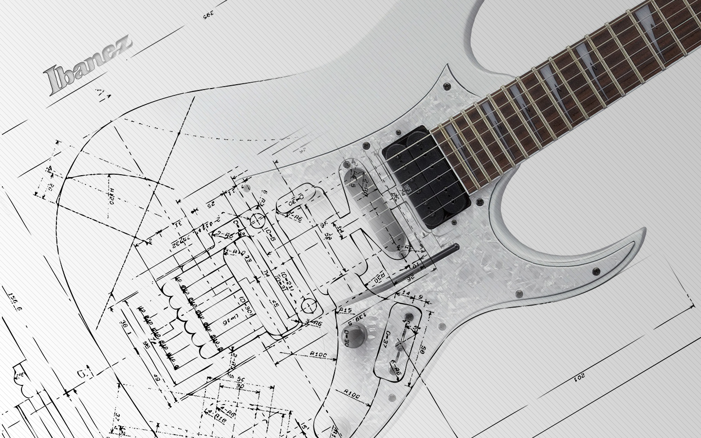 Guitar wallpaper ibanez white electric guitar blueprint 1440x900