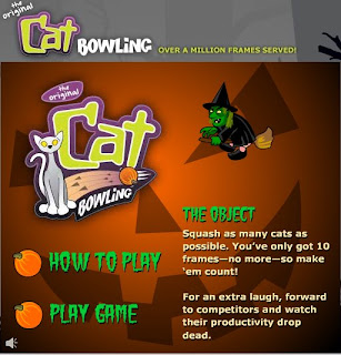 cat bowling halloween game