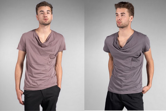 Cottonable: Shades of Greige Presents a Plateau Draped V-neckTee :  basic fashion top men