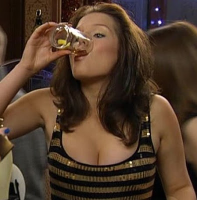 Helen Flanagan drinking cleavage