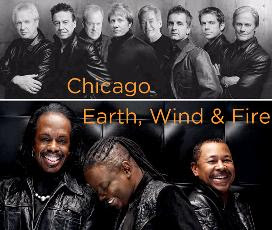 Album Cover shots of Chicago and Earth, Wind and Fire