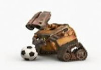 Wall-E is playing soccer (football).
