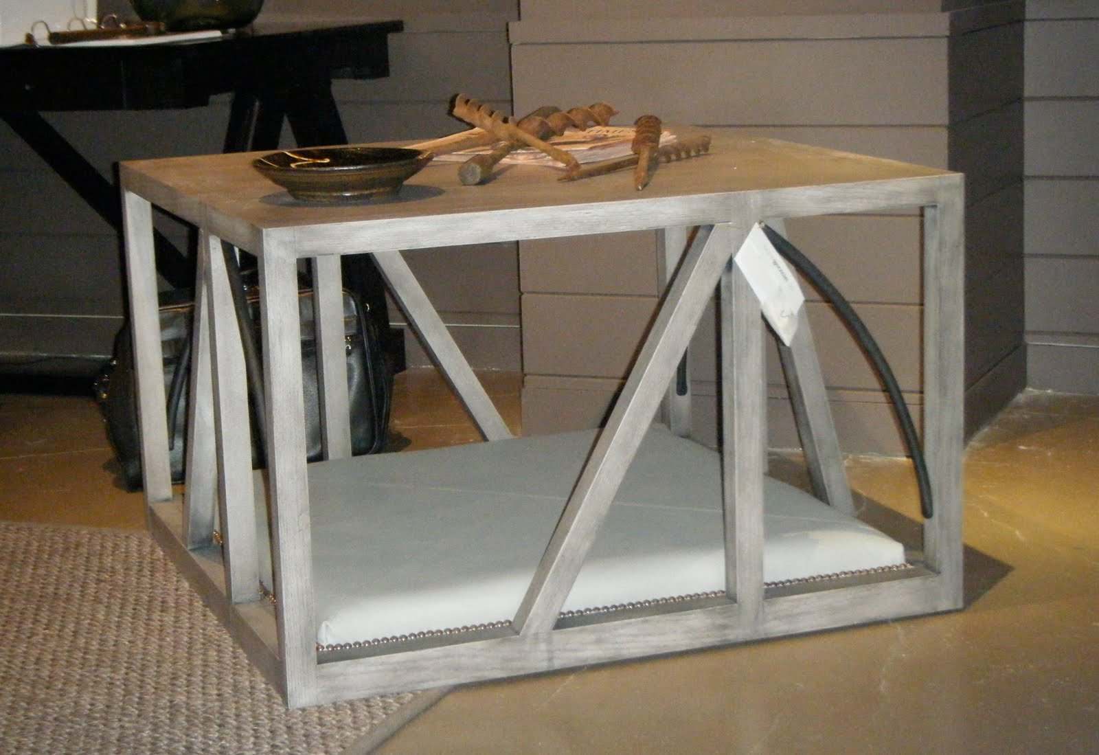 Dovecote decor coffee tables the math lesson table features a built in dog bed it is a gorgeous mix of natural wood dark metal and leather wouldnt it look just charming with your geotapseo Image collections