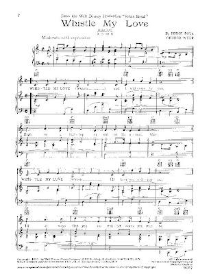Walt Disneys Story Of Robin Hood Whistle My Love Music Sheet