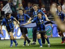 Inter players celebrate