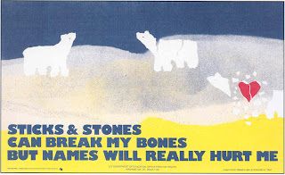 3 polar bears, one disintegrating from a broken heart with the words, Sticks and Stones can break my bones, but words will really hurt me