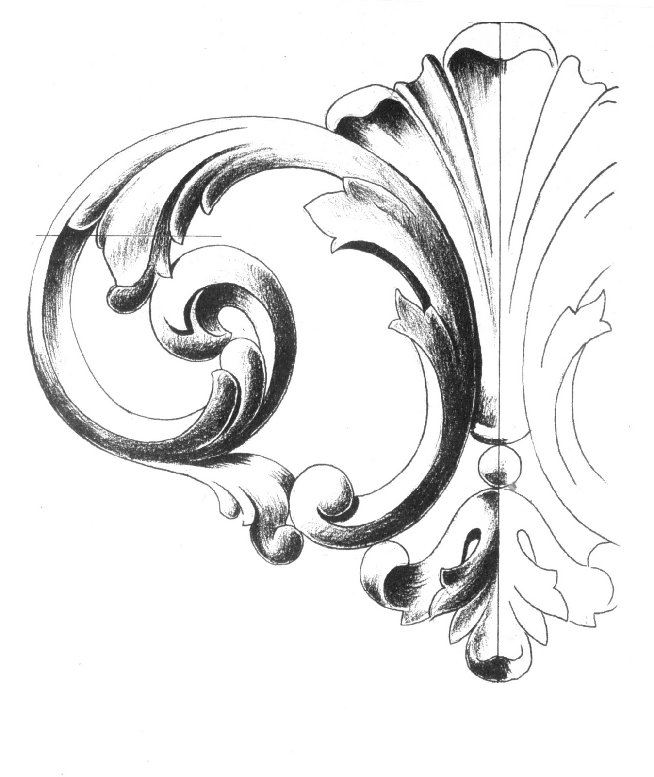 Scroll Drawing: Surface Fragments: How To Draw The Acanthus, Part III