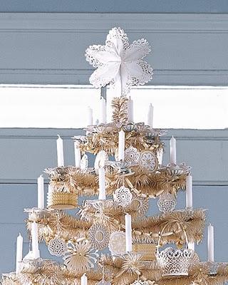 Adornos de navidad con blondas de papel (estrella puntero y angel)