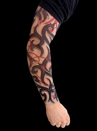 Easy to use: simply pull your Tattoo Skin Sleeve onto your arm.