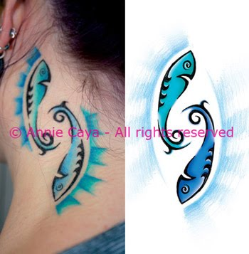 Pisces tattoo designs for women are on the side neck with a bright blue