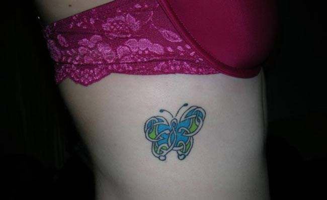 Butterfly Tattoo Design On The Side Body
