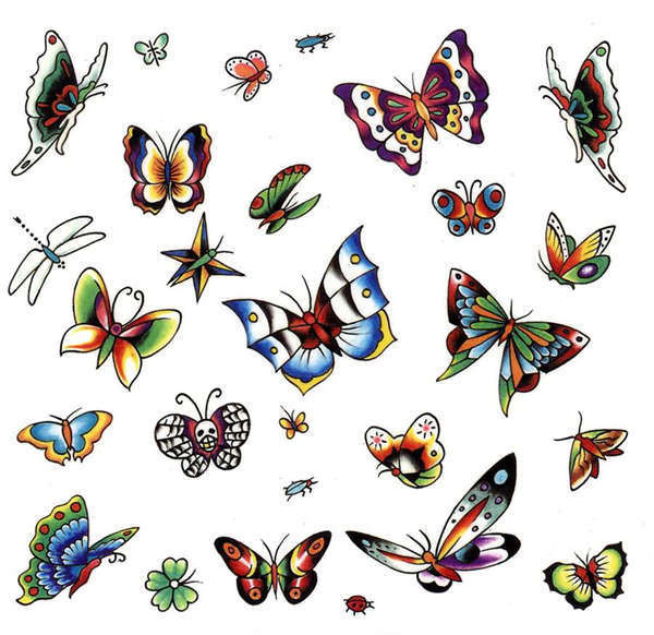 This is an entire sheet of butterfly tattoo designs to choose from.