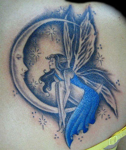 beautiful fairy moons and star tattoos for women