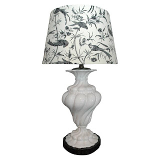 The peak of chic lampshade chic white ceramic lamp with brunschwig and fils toile lampshade by woodson and rummerfield aloadofball Choice Image