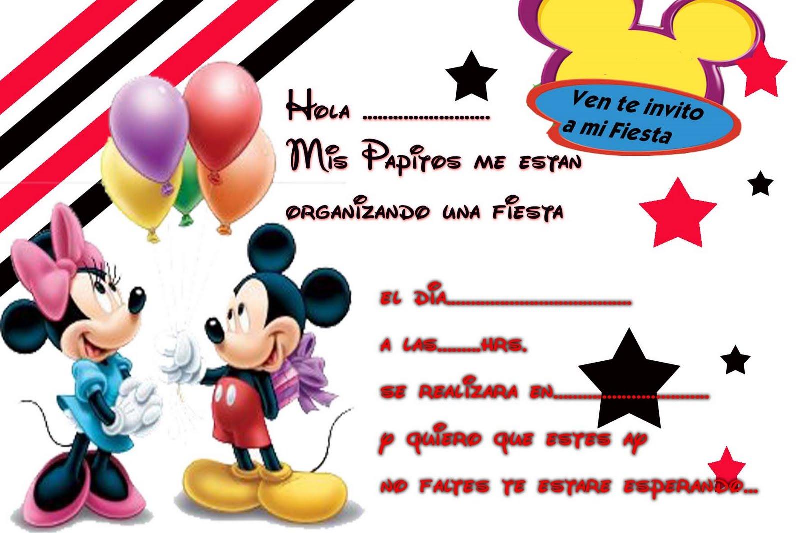 Invitaciónes Mickey Mouse para editar - Imagui