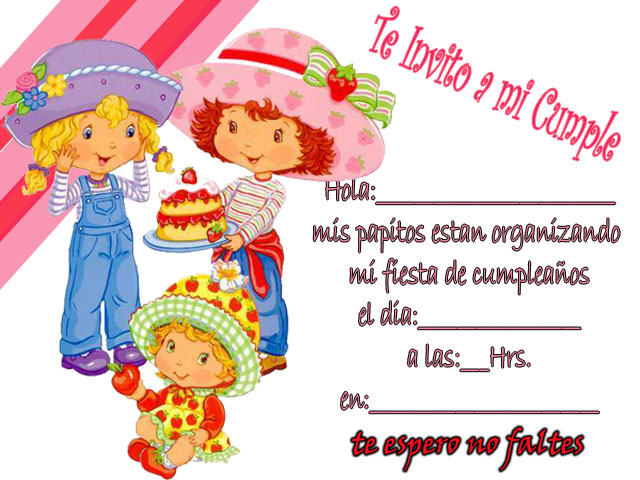 Invitaciones de Frutillita para imprimir gratis - Imagui