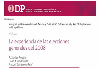 Artículo en IDP: La experiencia de las elecciones generales del 2008