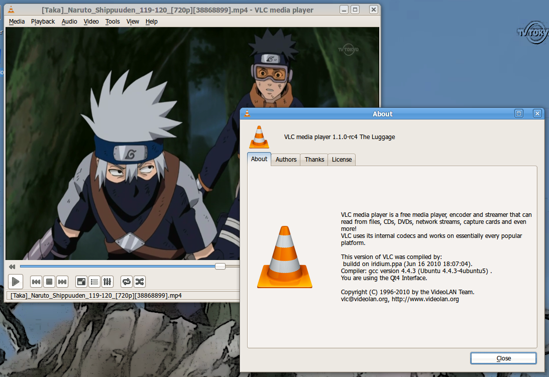 Screenshot dari VLC 1.1.0
