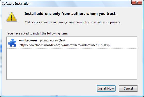 Instalasi WmlBrowser di Mozilla Firefox