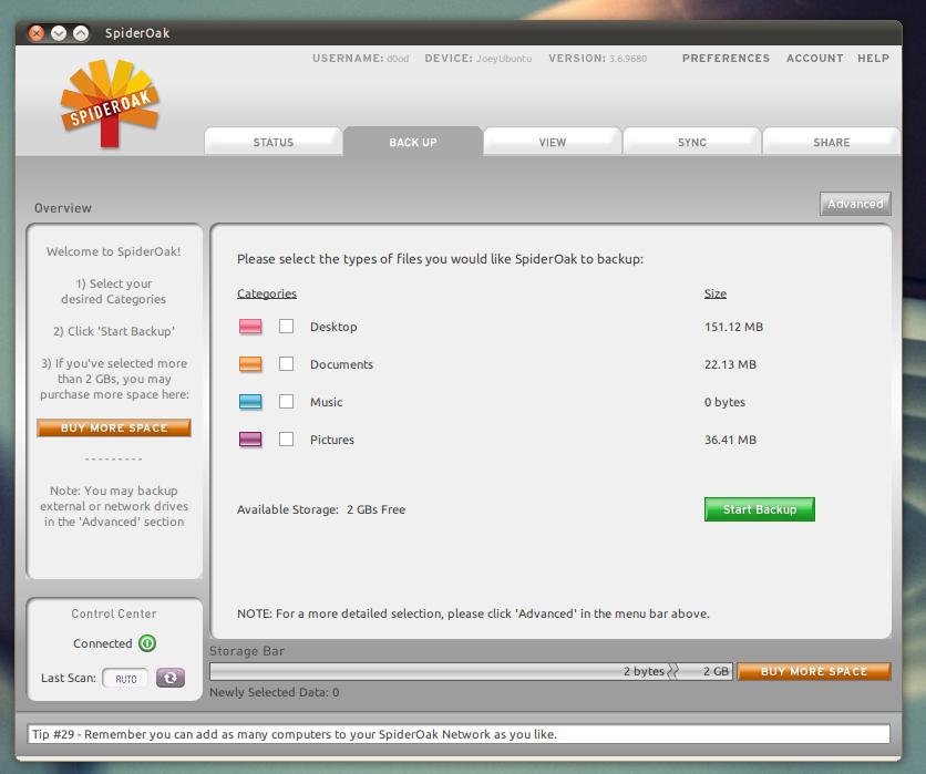 Tampilan grafis aplikasi client SpiderOak di Ubuntu