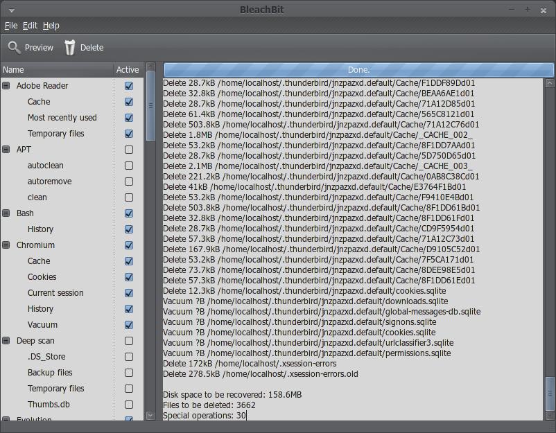 BleachBit menemukan 158MB file sampah