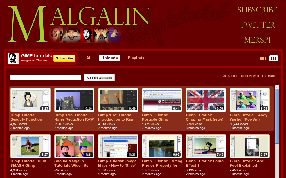 Channel Malgalin di Youtube
