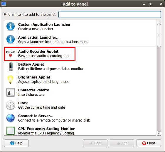 Audio Recorder Applet