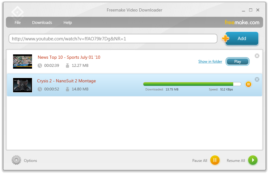 Freemake Video Downloader in action!