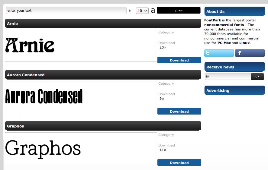 Fontpark.net: Portal font non-komersil terbesar