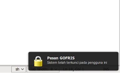 Pesan ketika sistem terkunci pada user yang login